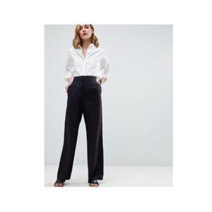 ASOS Black Cotton Linen, Lined Trousers Size 4